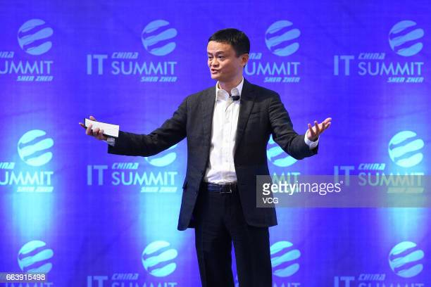 Alibaba chairman Jack Ma makes a speech during the China IT Summit 2017 at Shenzhen Wuzhou Guest House on April 2 2017 in Shenzhen Guangdong Province...