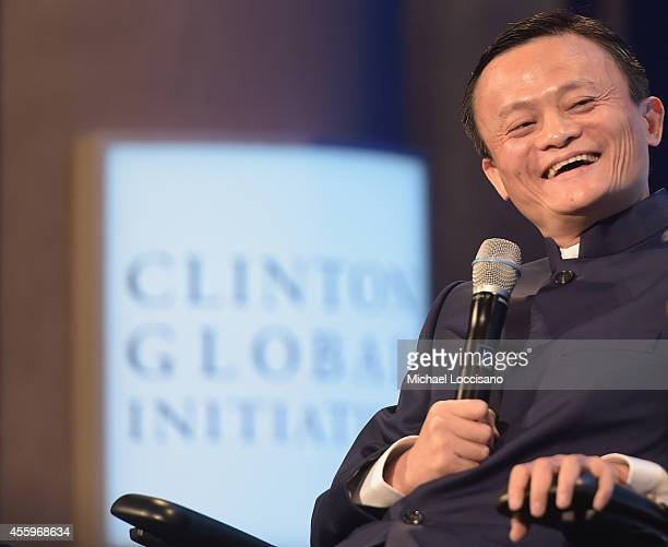 Alibaba Executive Chairman Jack Ma takes part in the 'Valuing What Matters' Plenary Session during the third day of the Clinton Global Initiative's...