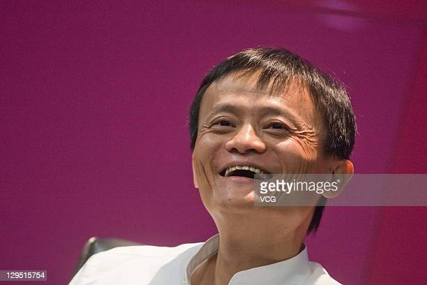 Alibaba Group chairman and CEO Ma Yun speaks during a press conference on October 17 2011 in Hangzhou Zhejiang Provinceo of China China's leading...