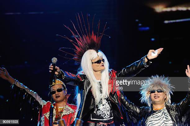 Alibaba Group Chairman and Chief Executive Officer Ma Yun dressed as a punk rocker performs during the 10th anniversary celebration of Alibaba Group...