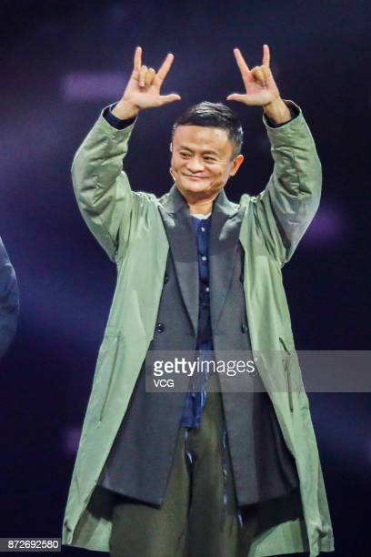 Alibaba Group Chairman Jack Ma attends 2017 Alibaba Singles' Day Global Shopping Festival gala at MercedesBenz Arena on November 10 2017 in Shanghai...