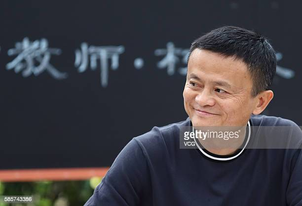 Alibaba Group Chairman Jack Ma attends a meeting during the first training class of Jack Ma Foundation Rural Teachers Awards at Xiaohewan Primary...