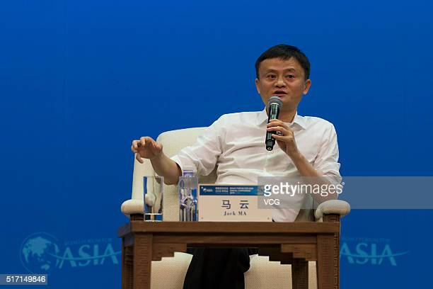 Alibaba Group Chairman Jack Ma speaks during the Boao Forum For Asia Annual Conference on March 23 2016 in Qionghai Hainan Province of China Jack Ma...