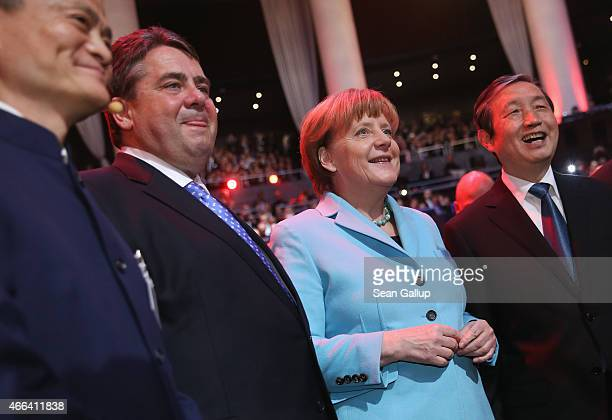 Alibaba Group Executive Chairman Jack Ma German Economy Minister Sigmar Gabriel German Chancellor Angela Merkel and Chinese Vice Premier Ma Kai...