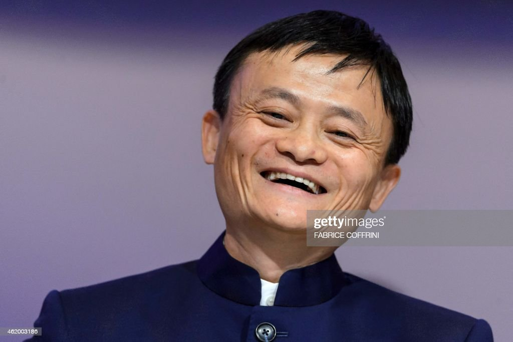 Alibaba Group Founder and Executive Chairman <a gi-track='captionPersonalityLinkClicked' href=/galleries/search?phrase=Jack+Ma&family=editorial&specificpeople=2110288 ng-click='$event.stopPropagation()'>Jack Ma</a> smiles during a session of the World Economic Forum (WEF) annual meeting on January 23, 2015 in Davos. AFP PHOTO / FABRICE COFFRINI
