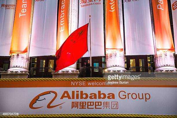 Alibaba Group signage is posted outside the New York Stock Exchange prior to the company's initial price offering on September 19 2014 in New York...
