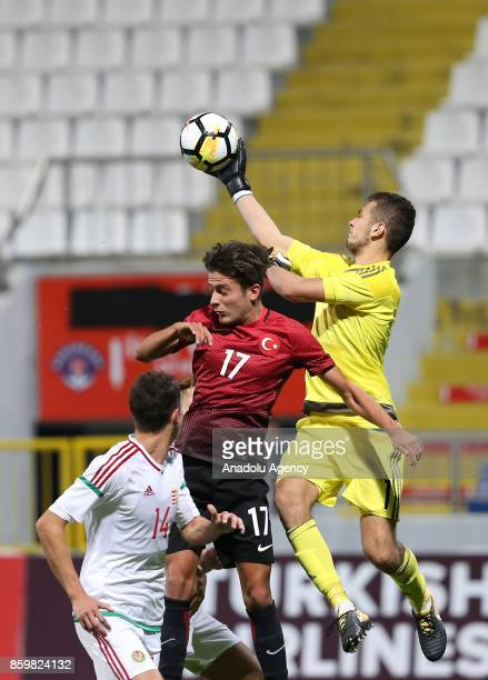 Alican Ozfesli of Turkey in action against Patrik Demjen of Hungary during the 2017 UEFA European Under21 Championship qualification Group 6 football...