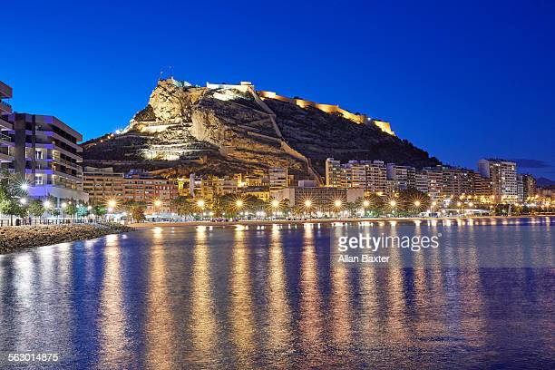 Alicante port illuminated at night