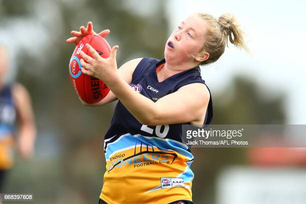 Alice Bailey of the Bendigo Pioneers marks the ball during to the TAC Cup Girls round five match between the Calder Cannons and the Bendigo Pioneers...