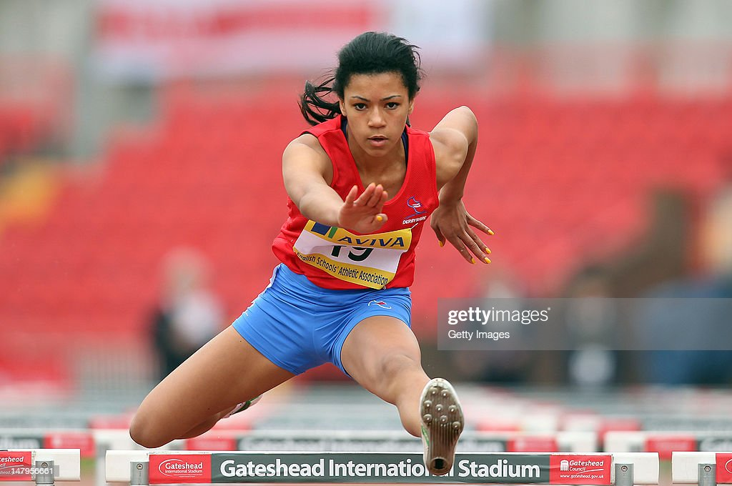 Alice Barnett of Derbyshire competes in the Junior Girls 75m Hurdles during day one of the Aviva English Schools Track and Field Championships at the Gateshead International Stadium on July 6, 2012 in Gateshead, England. Search Aviva Athletics on Facebook to Back The Team.
