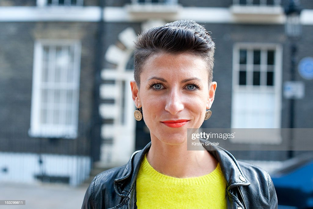 Alice Baronoi, photographer wearing an H and M sweater and Berschka jacket on day 5 of London Fashion Week Spring/Summer 2013, on September 18, 2012 in London, England.