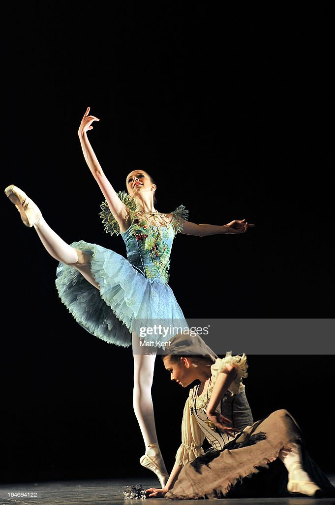 Alice Bayston as Summer and Daniela Oddi as Cinderella perform during the dress rehearsal for the English National Ballet's 'My First Cinderella' at The Peacock Theatre on March 26, 2013 in London, England.