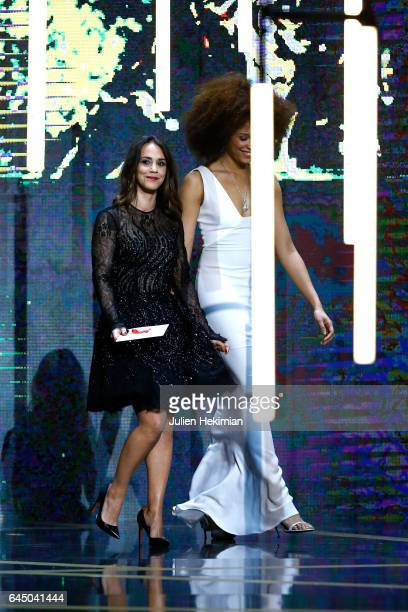 Alice Belaidi and Stefi Celma are seen on stage during the Cesar Film Awards Ceremony at Salle Pleyel on February 24 2017 in Paris France