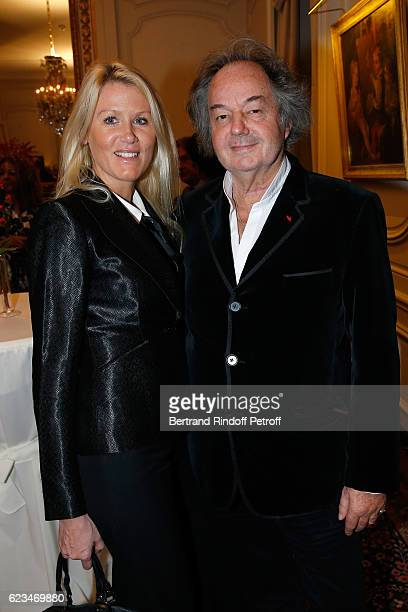 Alice Bertheaume and Gonzague Saint Bris attend the Reception for the 'King of Belgians Day' at Belgium Ambassy on November 15 2016 in Paris France