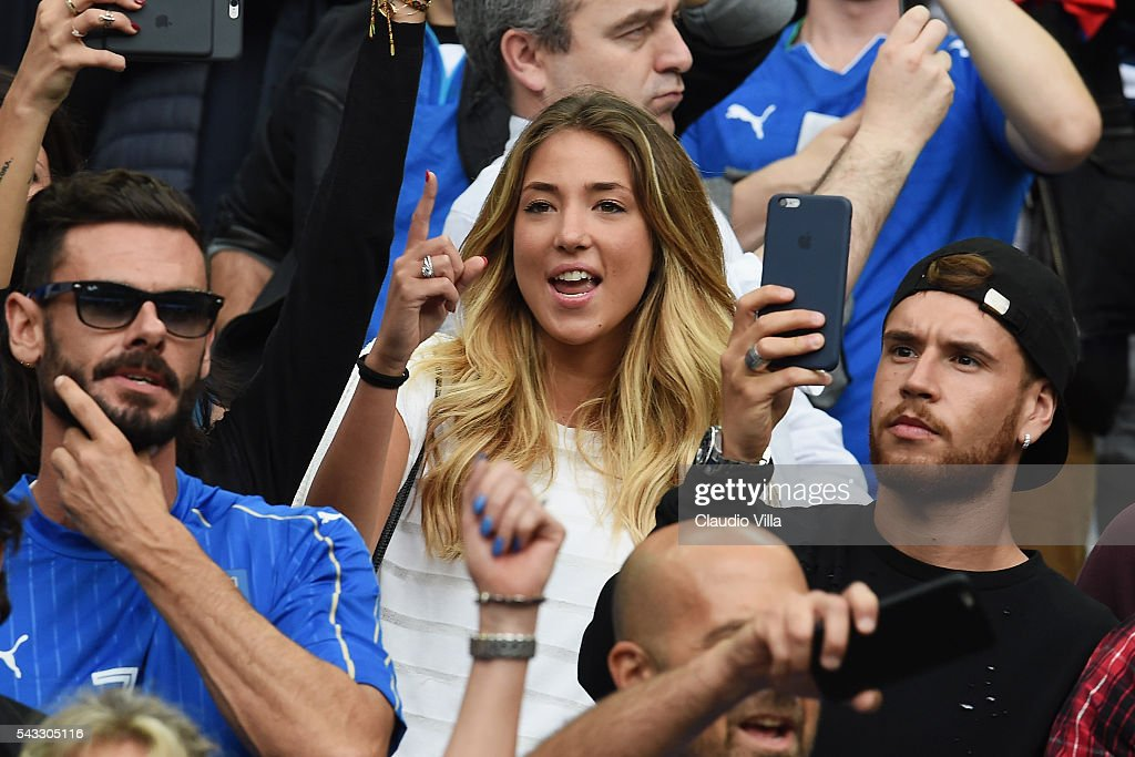 Alice Campello (C), girlfriend of Alvaro Morata of Spain is seen prior to the UEFA EURO 2016 round of 16 match between Italy and Spain at Stade de France on June 27, 2016 in Paris, France.