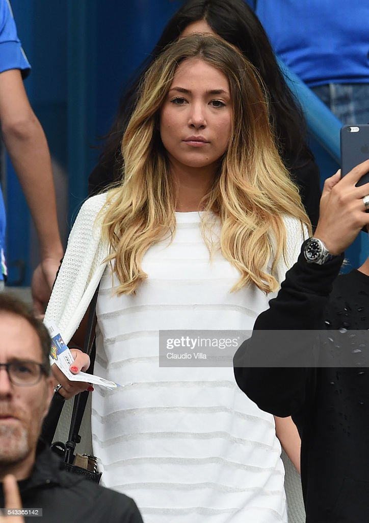 Alice Campello, girlfriend of Alvaro Morata of Spain is seen prior to the UEFA EURO 2016 round of 16 match between Italy and Spain at Stade de France on June 27, 2016 in Paris, France.
