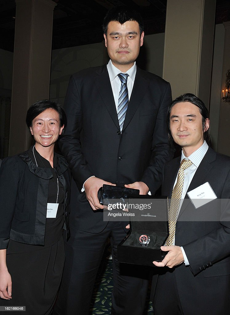 Alice Chen, NBA Great <a gi-track='captionPersonalityLinkClicked' href=/galleries/search?phrase=Yao+Ming&family=editorial&specificpeople=201476 ng-click='$event.stopPropagation()'>Yao Ming</a> and Yong You attend the Girard-Perregaux and Asia Society event honoring NBA Great <a gi-track='captionPersonalityLinkClicked' href=/galleries/search?phrase=Yao+Ming&family=editorial&specificpeople=201476 ng-click='$event.stopPropagation()'>Yao Ming</a> with Steve Nash at Millennium Biltmore Hotel on February 19, 2013 in Los Angeles, California.