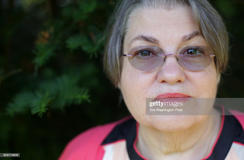 Alice Collins Plebuch poses for a portrait after meeting relatives in Seaford, NY, on June 24, 2017.