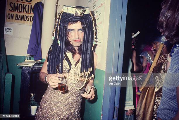 Alice Cooper dressed as Cleopatra at a party circa 1970 New York