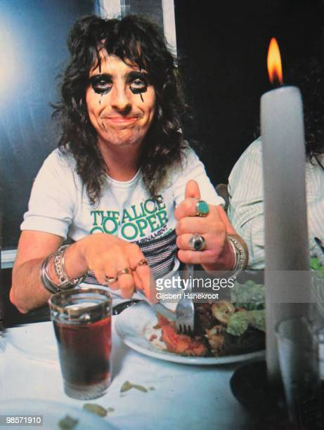 Alice Cooper eating a meal in Amsterdam Netherlands on November 18 1972