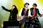 Alice Cooper Johnny Depp and Joe Perry perform as The Hollywood Vampires during Rock in Rio on September 24 2015 in Rio de Janeiro Brazil