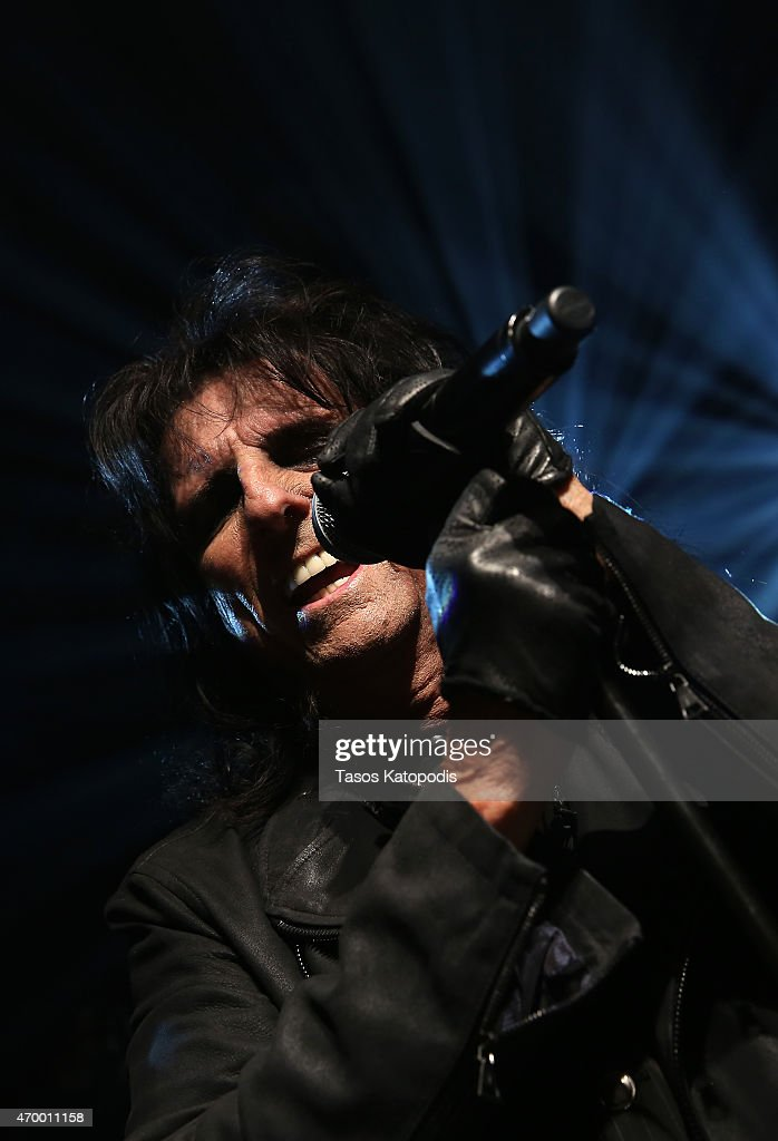 Alice Cooper performs at John Varvatos Detroit Store Opening Party hosted by Chrysler on April 16, 2015 in Detroit, Michigan.