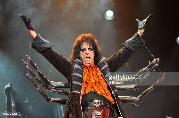 Alice Cooper performs on stage at Alexandra Palace on October 29 2011 in London United Kingdom