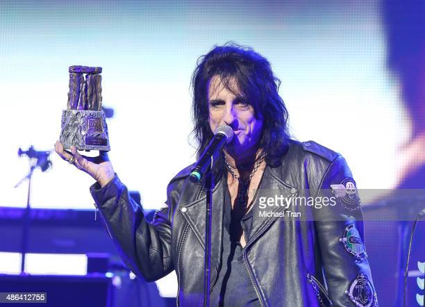 Alice Cooper speaks onstage during the 6th Annual Revolver Golden Gods Award Show held at Club Nokia on April 23 2014 in Los Angeles California