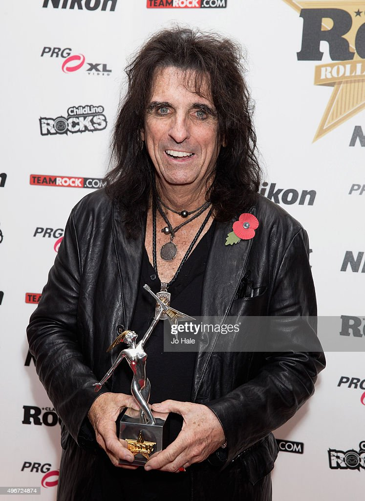 Alice Cooper wins Classic Album Award at the Classic Rock Roll of Honour at The Roundhouse on November 11, 2015 in London, England.