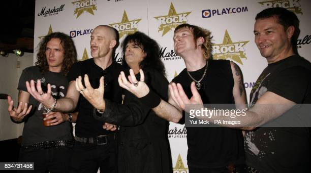 Alice Cooper with rock band the Stone Gods during the launch of the Classic Rock Magazine Roll of Honour Nominations 2008 at The Borderline in...