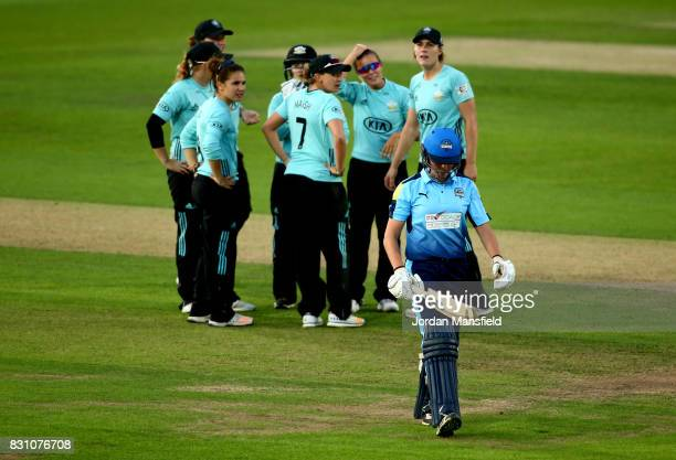 Alice DavidsonRichards of Yorkshire walks off the field after being dismissed by Alex Hartley of Surrey during the Kia Super League match between...