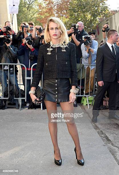 Alice Dellal arrives at the Chanel show during Paris Fashion Week Womenswear SS 2015 on September 30 2014 in Paris France
