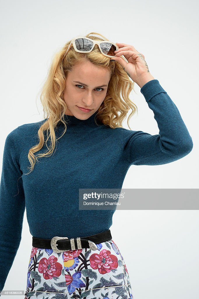 <a gi-track='captionPersonalityLinkClicked' href=/galleries/search?phrase=Alice+Dellal&family=editorial&specificpeople=4261908 ng-click='$event.stopPropagation()'>Alice Dellal</a> attends at Chanel show as part of Paris Fashion Week - Haute Couture Fall/Winter 2014-2015 at Grand Palais on July 8, 2014 in Paris, France.