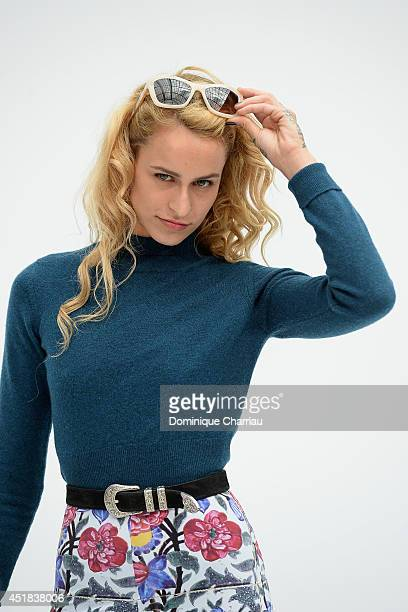Alice Dellal attends at Chanel show as part of Paris Fashion Week Haute Couture Fall/Winter 20142015 at Grand Palais on July 8 2014 in Paris France