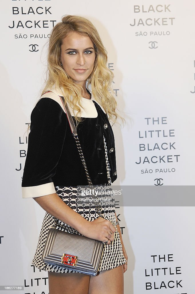 <a gi-track='captionPersonalityLinkClicked' href=/galleries/search?phrase=Alice+Dellal&family=editorial&specificpeople=4261908 ng-click='$event.stopPropagation()'>Alice Dellal</a> attends the Chanel Little Black Jacket event on October 29, 2013 in Sao Paulo, Brazil.
