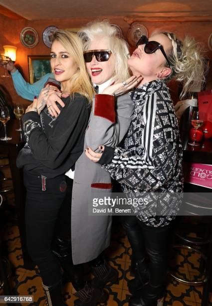 Alice Dellal Pam Hogg and Jaime Winstone attend the Pam Hogg aftershow party during the London Fashion Week February 2017 collections at Bunga Bunga...