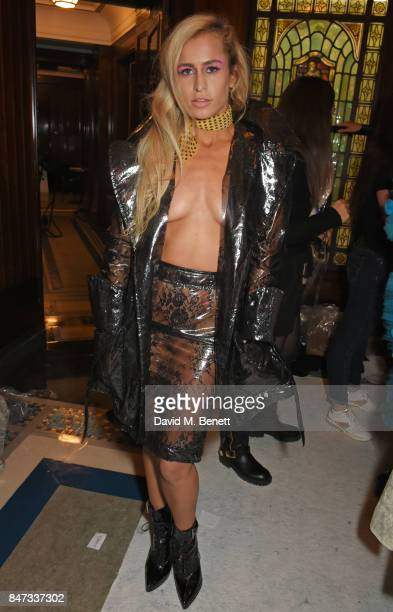 Alice Dellal poses backstage at the Pam Hogg SS18 catwalk show during London Fashion Week September 2017 on September 15 2017 in London United Kingdom