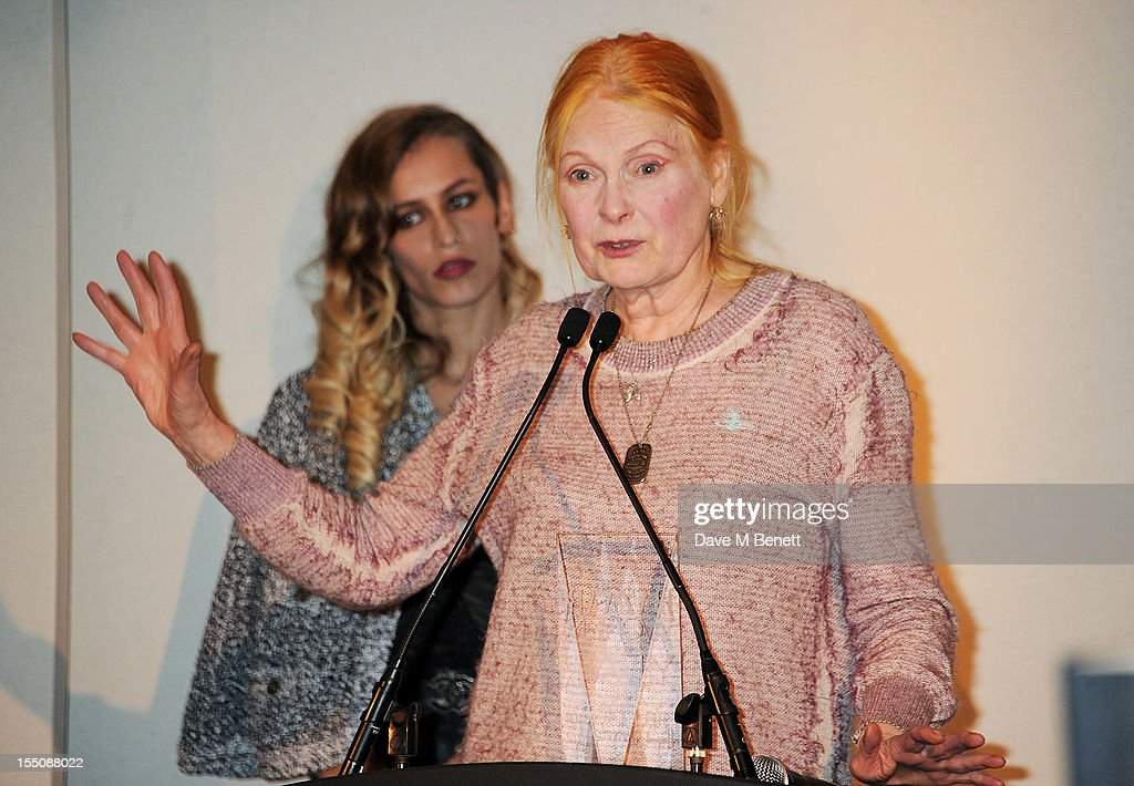 (MANDATORY CREDIT PHOTO BY DAVE M BENETT/GETTY IMAGES REQUIRED) Alice Dellal (L) presents Dame Vivienne Westwood with the Inspiration of the Year award at the Harper's Bazaar Women of the Year Awards 2012, in association with Estee Lauder, Harrods and Tiffany & Co., at Claridge's Hotel on October 31, 2012 in London, England.