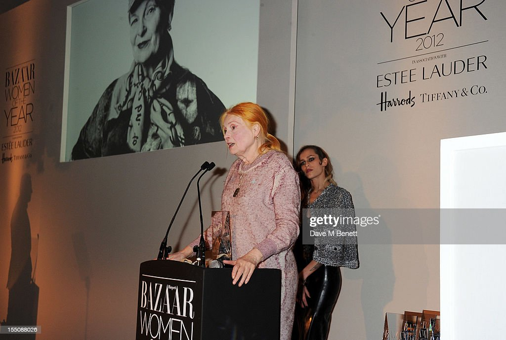 (MANDATORY CREDIT PHOTO BY DAVE M BENETT/GETTY IMAGES REQUIRED) Alice Dellal (R) presents Dame Vivienne Westwood with the Inspiration of the Year award at the Harper's Bazaar Women of the Year Awards 2012, in association with Estee Lauder, Harrods and Tiffany & Co., at Claridge's Hotel on October 31, 2012 in London, England.