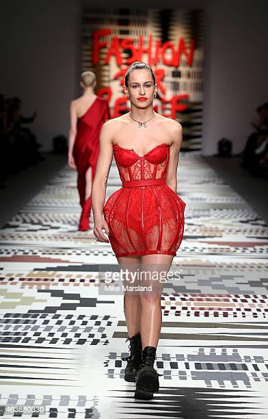 Alice Dellal walks the runway at the Fashion For Relief charity fashion show to kick off London Fashion Week Fall/Winter 2015/16 at Somerset House on...