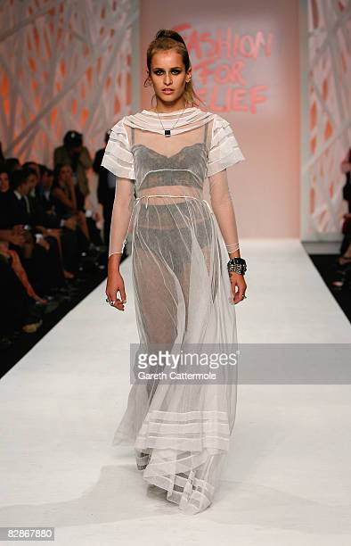 Alice Dellal walks the runway at the Fashion For Relief show during London Fashion Week Spring/Summer 2009 on September 17 2008 in London England...