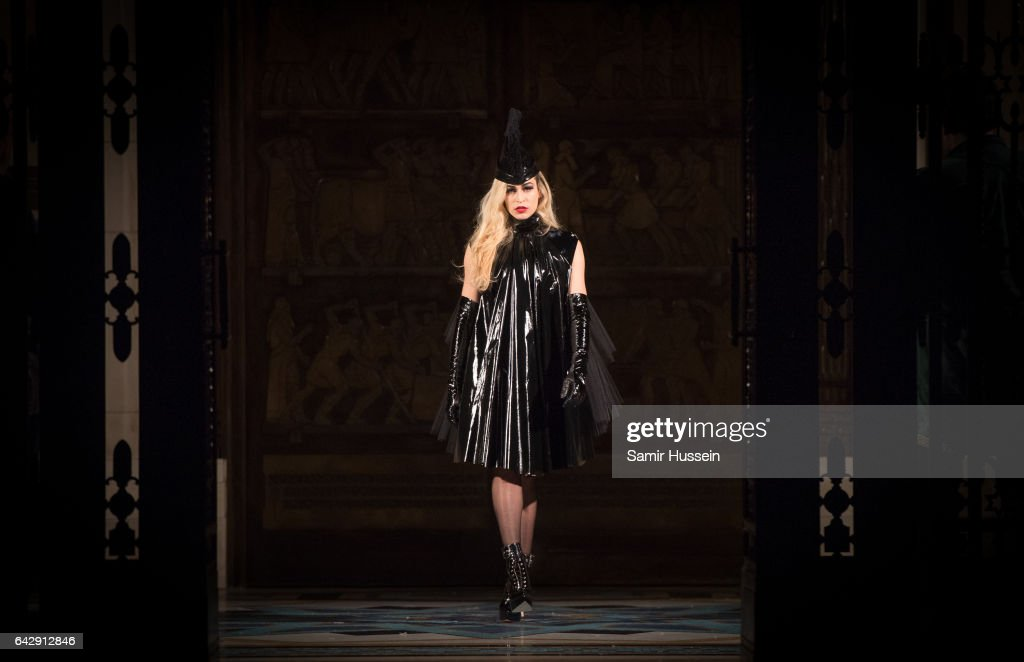 Alice Dellal walks the runway at the Pam Hogg show during the London Fashion Week February 2017 collections on February 19, 2017 in London, England.