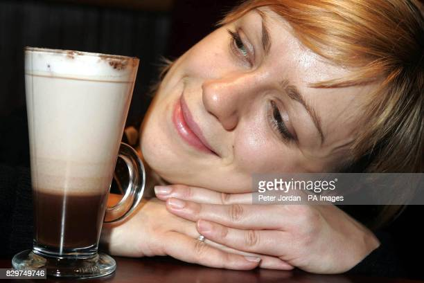 Alice Dunkinfield aged 27 from Holborn London with Costa Coffee's first ever new Chocolissimo melted chocolate drink which her boyfriend bought for...