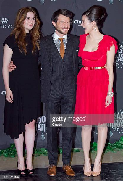 Alice Englert Alden Ehrenreich and Emmy Rossum pose during the 'Beatiful Creatures' Red Carpet on February 18 2013 in Mexico City Mexico