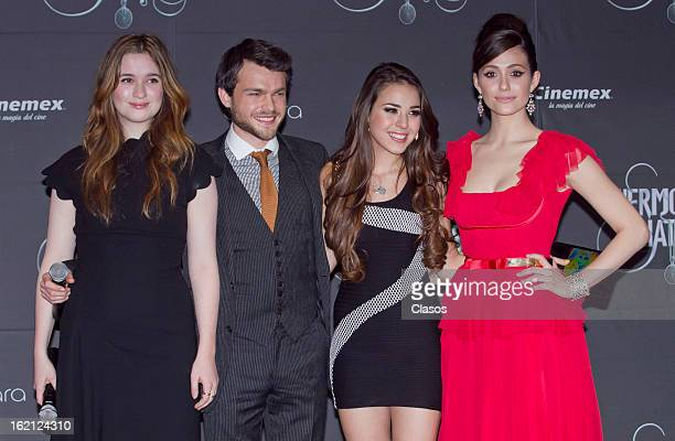 Alice Englert Alden Ehrenreich Danna Paola and Emmy Rossum pose during the 'Beatiful Creatures' Red Carpet on February 18 2013 in Mexico City Mexico