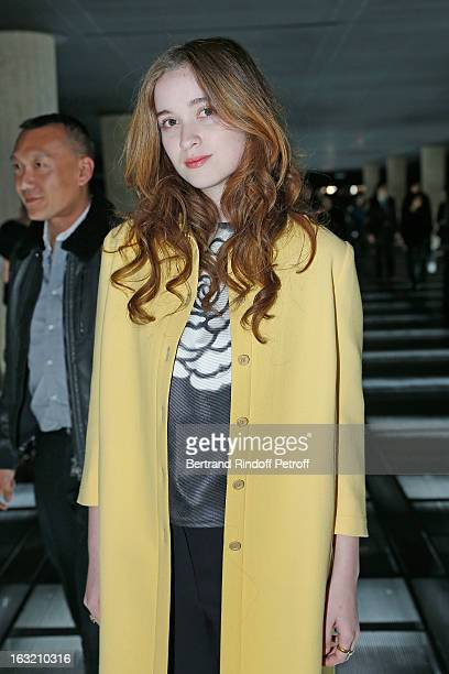 Alice Englert arrives to attend the Miu Miu Fall/Winter 2013 ReadytoWear show as part of Paris Fashion Week on March 6 2013 in Paris France