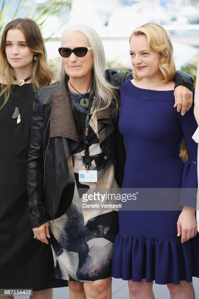 Alice Englert director Jane Campion and Elisabeth Moss attend the 'Top Of The Lake China Girl' photocall during the 70th annual Cannes Film Festival...