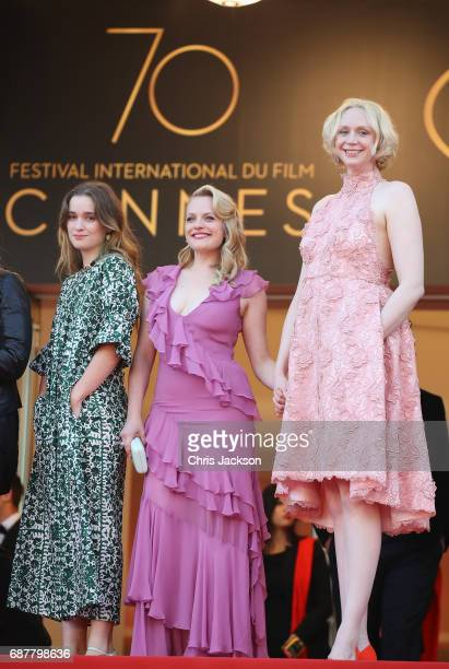 Alice Englert Elisabeth Moss and Gwendoline Christie attend the 'The Beguiled' screening during the 70th annual Cannes Film Festival at Palais des...