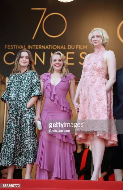 Alice Englert Elisabeth Moss and Gwendoline Christie of 'Top of the Lake China Girl' attend the 'The Beguiled' screening during the 70th annual...