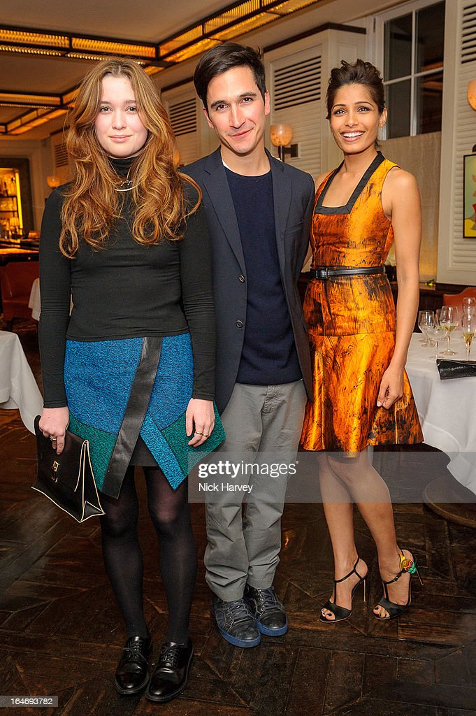 Alice Englert, Lazaro Hernandez and Freida Pinto attend as Net-A-Porter host private dinner to celebrate the launch of the Proenza Schouler excluisve capsule collection on March 26, 2013 in London, England.